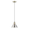 This item: Orwell AB Aged Brass Eight-Inch One-Light Mini Pendant with Pewter Shade