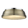 This item: Duncan CH Chrome 14-Inch Two-Light Flush Mount with a Aged Brass Shade