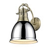 This item: Duncan Aged Brass Nine-Inch One-Light Wall Sconce with a Chrome Shade