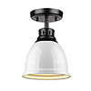 This item: Duncan Black and White Eight-Inch One-Light Flush Mount
