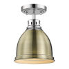 This item: Duncan CH Chrome Nine-Inch One-Light Flush Mount with Aged Brass Shade