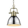 This item: Duncan Aged Brass Seven-Inch One-Light Mini Pendant with Chrome Shade
