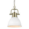 This item: Duncan Aged Brass Seven-Inch One-Light Mini Pendant with Matte White Shade