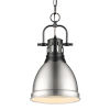 This item: Duncan Matte Black Nine-Inch One-Light Mini Pendant with Pewter Shade