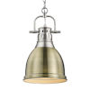 This item: Duncan PW Pewter Nine-Inch One-Light Mini Pendant with Aged Brass Shade