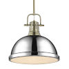 This item: Duncan Aged Brass 14-Inch One-Light Pendant with Rod with Chrome Shade