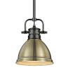 This item: Duncan Matte Black Seven-Inch One-Light Mini Pendant with Rod and Aged Brass Shade