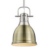 This item: Duncan PW Pewter Nine-Inch One-Light Mini Pendant with Rod and Aged Brass Shade