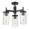 This item: Winslett Matte Black 17-Inch Three-Light Semi Flush Mount with Ribbed Clear Glass Shade