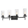 This item: Winslett Matte Black 32-Inch Four-Light Bath Vanity with Ribbed Clear Glass Shade