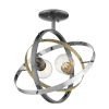 This item: Atom Brushed Steel Aged Brass Chrome 14-Inch Two-Light Semi Flush Mount