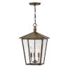This item: Huntersfield Burnished Bronze Three-Light Outdoor Pendant With Clear Seedy Glass
