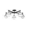 This item: Hollis Black Five-Light Foyer Semi-Flush Mount With Etched Opal Glass