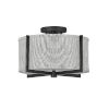 This item: Axis Black Two-Light LED Semi-Flush Mount with Heathered Gray Slub Shade