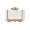 This item: Axis Heritage Brass Two-Light LED Semi-Flush Mount with Off White Linen Shade