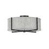 This item: Axis Black Three-Light LED Semi-Flush Mount with Heathered Gray Slub Shade