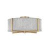 This item: Axis Heritage Brass Three-Light LED Semi-Flush Mount with Heathered Gray Slub Shade