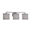 This item: Textile Bronx Brushed Nickel and Gray Three-Light Bath Vanity with Oval Shade