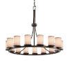 This item: Textile Dark Bronze and White 15-Light Chandelier