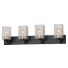 This item: Fusion Matte Black and Brass Four-Light Bath Vanity
