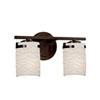 This item: Limoges - Atlas Dark Bronze Two-Light LED Bath Bar with Cylinder Flat Rim Waves Shade