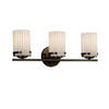 This item: Limoges - Atlas Dark Bronze Three-Light Bath Bar with Cylinder Flat Rim Pleats Shade