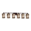 This item: Wire Glass - Tetra Dark Bronze Six-Light Bath Bar with Cylinder Flat Rim Swirl with Clear Bubbles Shade