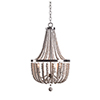 This item: Dumas Brushed Steel with Weathered White Beads Three-Light Wood Bead Chandelier