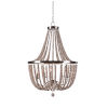 This item: Dumas Brushed Steel with White Wood Beads Five-Light Wood Bead Chandelier