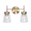 This item: Delgado Antique Brass and Clear Glass Two-Light Bath Vanity