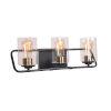 This item: Carleigh Matte Black and Antique Brass Three-Light Bath Vanity