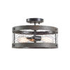 This item: Cozy Wood and Oil Rubbed Bronze Two-Light Semi-Flush Mount