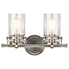 This item: Brinley Brushed Nickel 16-Inch Two-Light Bath Light