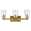 This item: Audrea Natural Brass 24-Inch Three-Light Bath Light