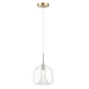 This item: Deuce Satin Brass 8-Inch One-Light LED Mini Pendant with Clear Glass