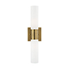 This item: Aero Antique Brass 18-Inch Two-Light ADA Bath Vanity with Hand Blown Satin Opal White Twist Lock Glass