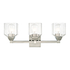 This item: Aragon Brushed Nickel 23-Inch Three-Light Bath Vanity with Hand Blown Clear Seeded Glass
