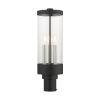 This item: Hillcrest Textured Black Three-Light Outdoor Post Lantern