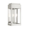 This item: York Brushed Nickel Eight-Inch Two-Light Outdoor Wall Lantern