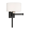 This item: Swing Arm Wall Lamps Black 11-Inch One-Light Swing Arm Wall Lamp with Hand Crafted Off-White Hardback Shade