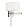 This item: Swing Arm Wall Lamps Brushed Nickel 11-Inch One-Light Swing Arm Wall Lamp with Hand Crafted Off-White Hardback Shade
