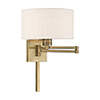 This item: Swing Arm Wall Lamps Antique Brass 11-Inch One-Light Swing Arm Wall Lamp with Hand Crafted Oatmeal Hardback Shade
