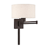 This item: Swing Arm Wall Lamps Bronze 11-Inch One-Light Swing Arm Wall Lamp with Hand Crafted Oatmeal Hardback Shade