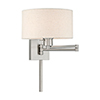 This item: Swing Arm Wall Lamps Brushed Nickel 11-Inch One-Light Swing Arm Wall Lamp with Hand Crafted Oatmeal Hardback Shade
