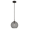 This item: Cassandra Black 9-Inch One-Light Mini Pendant with Clear Crystals