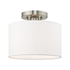 This item: Clark Brushed Nickel 10-Inch One-Light Ceiling Mount with Hand Crafted Off-White Hardback Shade