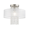 This item: Bella Vista Brushed Nickel 15-Inch One-Light Ceiling Mount with Clear crystals Hand Crafted Translucent Shade