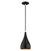 This item: Metal Shade Mini Pendants Shiny Black 6-Inch One-Light Mini Pendant with Shiny Black Metal Shade with Gold Finish Inside