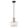 This item: Art Glass Mini Pendants English Bronze 10-Inch One-Light Mini Pendant with Champagne Glass