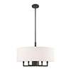 This item: Meridian English Bronze 24-Inch Six-Light Pendant Chandelier with Hand Crafted Oatmeal Hardback Shade